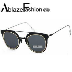 38868db19 Barato Para real zonnebril retro mulheres homens marca designer Cat Eye  Sunglasses senhoras óculos de sol