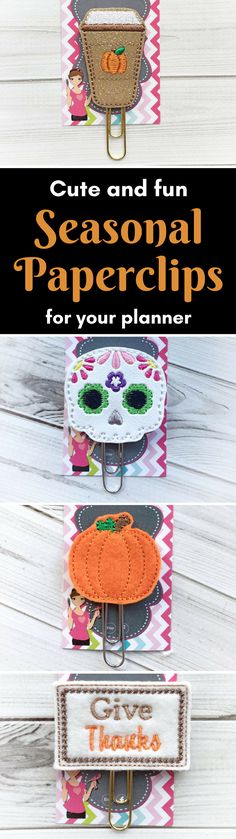 Cute feltie paperclips in autumn, halloween, sugar skull and thanksgiving designs  #bujo #planner #plannerswag #planneraddict #feltie #halloween #autumn #pumpkinspice #thanksgiving #lifeplanner #plannergoodies #plannerlove #bookmark #bulletjournal #handmade #aff #etsy