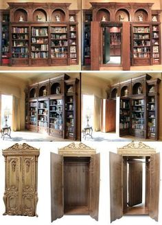 Hidden rooms/secret passages by Creative Home Engineering Future House, My House, Home Engineering, Hidden Spaces, Hidden Rooms In Houses, Safe Room, Dream Library, Library Room, Pub Set