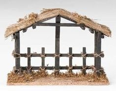 Vintage nativity wooden stable no figures free ship stables