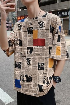 Guys Summer Retro Newspaper Printed Half-Sleeve Street Fashion Oversized T-Shirt - I Arted Shirt - Ideas of I Arted Shirt - Guys Summer Retro Newspaper Printed Half-Sleeve Street Fashion Oversized T-Shirt Retro Outfits, Grunge Outfits, Casual Outfits, Summer Outfits, Simple Outfits, Boy Outfits, Streetwear Mode, Streetwear Fashion, Aesthetic Fashion