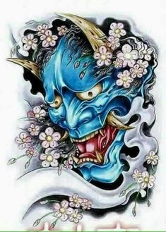 Hanya Mask Tattoo, Oni Tattoo, Samurai Tattoo, Japanese Demon Tattoo, Japanese Sleeve Tattoos, Japan Tattoo Design, Japanese Tattoo Designs, Glyph Tattoo, Samurai Artwork