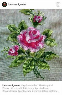 Have a good Friday. Cross Stitch Rose, Beaded Cross Stitch, Crochet Cross, Cross Stitch Flowers, Crochet Home, Cross Stitch Embroidery, Cross Stitch Patterns Free Easy, Cross Stitch Borders, Cross Stitch Charts