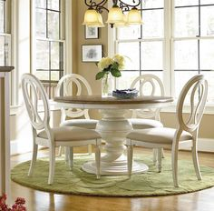 Shop our Country-Chic 5 Piece Round White Dining Table Set for sale at Zin Home. This white round pedestal kitchen table set include an extending round table and 4 upholstered pierced back dining side chairs Round Dining Table Sets, Round Pedestal Dining Table, Dining Tables, White Dining Set, Round Extendable Dining Table, Muebles Living, Dining Room Furniture, Furniture Design, Fine Furniture