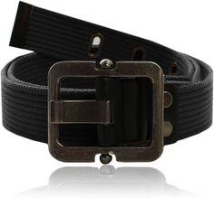 Eurosport Authentic Canvas Tactical Belt - WB2825 - Black - Small/Medium at Amazon Men's Clothing store: