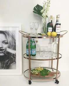 Impress your guests this New Year's Eve with a special entertainment area set up in your home. Invest in a superior drinks trolley and bring a sense of sophistication to your celebrations this summer! Bar Trolley, Drinks Trolley, Three Birds Renovations, Drink Cart, Gin Bar, Bar Cart Styling, Refreshing Drinks, House Front, A Boutique
