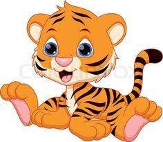 Stock vector of 'Cute baby tiger cartoon'