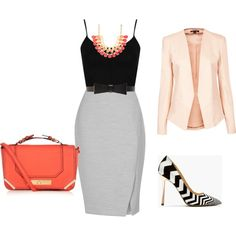 """""""Coral + Chevron Work Outfit"""" by kandra-haddad on Polyvore"""
