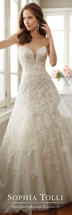Sophia Tolli Spring 2017 Wedding Gown Collection - Style No. Y11725 Antoinette - strapless tulle and lace A-line wedding dress