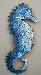 I am loving this artist Kari von Wening's metal sculptures! Seahorse Art, Seahorses, Nautical Interior, Sea Dragon, Beach Crafts, Beach Art, Sea Creatures, Coastal Decor, Ceramic Art