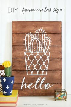 Easy DIY Cactus Crafts to Make, Sell, and Share - Dwell Beautiful - - Dwell Beautiful rounds up a prick-free group of easy DIY cactus crafts that you can make, sell, or share. Jump on the trendy cactus bandwagon and get crafty. Diy Crafts For Adults, Adult Crafts, Crafts To Sell, Diy And Crafts, Easy Crafts, Sell Diy, Decor Crafts, Decoration Cactus, Cactus Craft