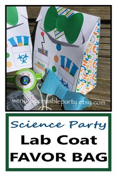 This personalized PRINTABLE Lab Coat Treat Bag / Science Party Favor Bag is perfect for a Science Themed Party and can be filled with small toys, treats, candy etc! #ad #science #scienceparty #birthdayparty #favorbag #treatbag #labcoat #labratory #scientist #madscientist #personalized #custom #printable #etsy