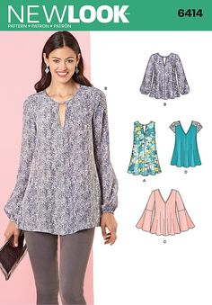 Misses Tunic and Top with Neckline Variations New Look Sewing Pattern 6414. Size 8-20.