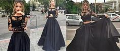 2 pieces Prom Dress, Black prom Dress, Sexy Prom Dress,  dresses for Prom…