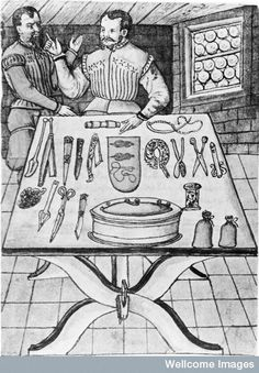 Surgical instruments set out ready from operation. 1559.