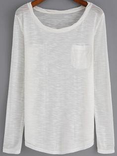 2ad184cfef Camiseta cuello redondo manga larga casual-(Sheinside) Camisetas Manga Larga  Mujer