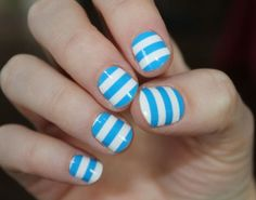 Blue and white striped summer nails