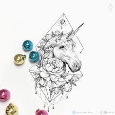 Dotwork unicorn flowers tattoo design Tribal Tattoos, Tattoos Skull, Unicorn Illustration, Tattoo Illustration, Pretty Tattoos, Love Tattoos, Tatoos, Mother Tattoos, Mum Tattoo