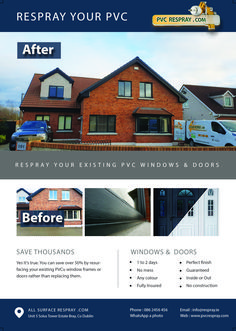 We take a lot of care in our selection of the safest and most durable products that we use. We make sure to choose the absolute highest quality respray products which are also the least harmful to the environment. For more detail about respray Ireland service call us today. Pvc Windows, Window Frames, Ireland, Environment, It Is Finished, Mansions, Detail, House Styles, Products