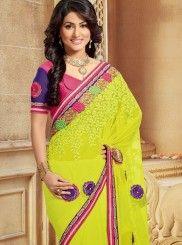Amazing Yellow And Pink Half And Half Saree