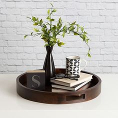 Bay Isle Home Mikayla Large Round Wood Ottoman/Coffee Table Tray Color: coffee tables tray Bay Isle Home Mikayla Coffee Table Tray Tray Styling, Coffee Table Styling, Diy Coffee Table, Coffee Table Design, Decorating Coffee Tables, Coffee Coffee, Coffee Table Decor Living Room, Coffee Table Decorations, Coffee Beans