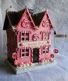 ... Red Woodland Cottage Lighted Putz Christmas House Paper Mache   eBay