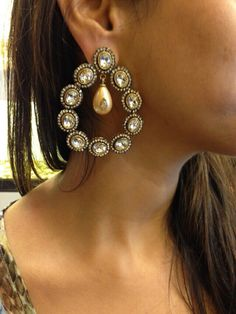 Stunning pearl/polki earrings