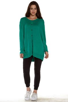 Pair our Green Button Down Knitted Cardigan with a legging! #FreeShipping #Fashion #Deal