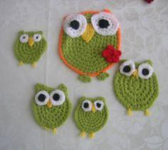 green crocheted owl --   grüne gehäkelte Eulen  --   yeşil tığ işi baykuşla