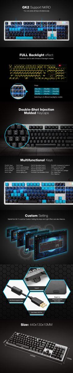 78dd7ced26f Mantistek® GK2 104 Keys NKRO RGB Blue Red Black Brown Switch Mechanical  Gaming Keyboard