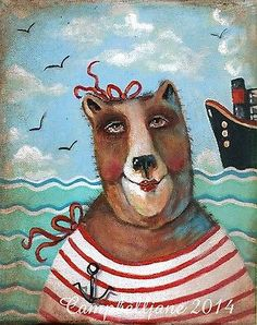 "Original Folk Art Bear Painting ""The Tourist"" Campbell Jane"