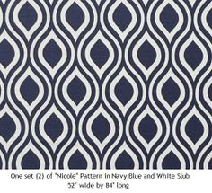Navy Blue and White Teardrop Curtain Panels One Set by TailorMonte, $89.99