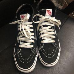 9d5f03f6306 Used Vans Men Women Shoes SK8 Hi Black White Canvas Skateboard Sneaker   fashion  clothing