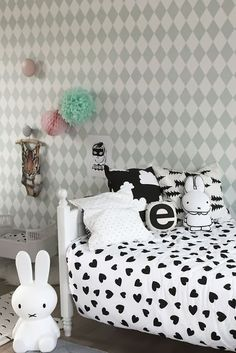 La Petite Magazine : Modern Kid's Bedroom with Black & White -maddy would love the bunnies. Childrens Room Decor, Kids Decor, Home Decor, Decor Ideas, Deco Kids, Kids Room Design, Little Girl Rooms, Kid Spaces, My New Room