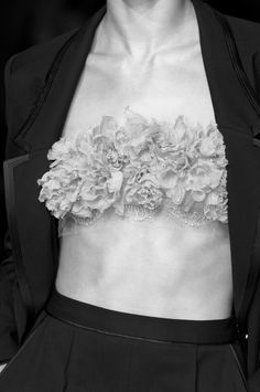 Chic suit with fabric flower bandeau top; pretty fashion details // Jason Wu Spring 2011