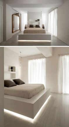 9 Examples Of Beds With Hidden Lighting Underneath // A strip of LED lights under this bed frame makes the bed appear to float.