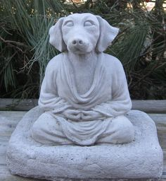 Concrete Buddha dog statue by springhillstudio on Etsy, $19.95