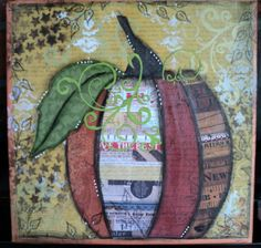 Pumpkin Mixed Media - use puff paint as vines