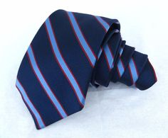 "Burberry London Tie Blue Striped 57.5"" 3.75"" Wide Red Woven Lined Silk Necktie #BurberryLondon #NeckTie"