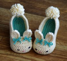 Toddler Bunny Slippers Tot Hops Toddler Crochet Pattern - Childrens shoe Sizes 4 - 9 - ALL 6 Sizes Included - Number 214 Instant Download. $5.50, via Etsy.