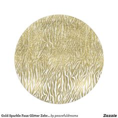 Gold Sparkle Faux Glitter Zebra Print Paper Plate