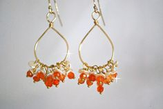 Shop for earrings on Etsy, the place to express your creativity through the buying and selling of handmade and vintage goods. Pearl Chandelier, Chandelier Earrings, Drop Earrings, Pearls, Orange, My Favorite Things, Creative, Handmade, Etsy