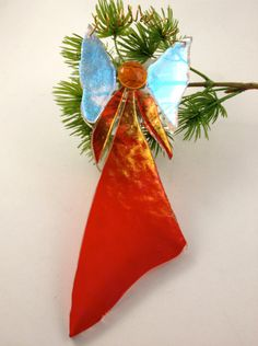 Christmas Angel Ornament Fused Dichroic Glass by Mtbaldyglassworks, $15.00