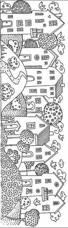 houses in a row Make your world more colorful with free printable coloring pages from italks. Our free coloring pages for adults and kids. House Colouring Pages, Coloring Book Pages, Coloring Sheets, House Quilts, Digi Stamps, Printable Coloring, House Colors, Art Lessons, Embroidery Patterns