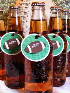 Beer bottle football tags