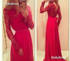 Long+Sleeves+Red+Lace+and+Chiffon+Evening+Dress+Party+Dress  If+you+wanna+make+some+change,+pls+feel+free+to+contact+us.    Fabric:+Lace,Chiffon  Embellishments:+Sequins  Hemline:+Floor+Length  Back+Details:+V+Back  Shown+Color:+Red  Available+Color:+As+Picture+or+Custom+Color(pls+leave+the+color...