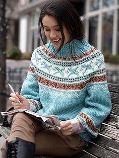 Ravelry: Park Place Pullovers pattern by Bernat Design Studio - free pattern Knitting Patterns Free, Knit Patterns, Free Knitting, Free Pattern, Pattern Ideas, Top Pattern, Punto Fair Isle, Icelandic Sweaters, Diy Kleidung