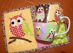 Owl Hand Appliqued Mug Rug & Matching Mug Set by sewmuch2luv, $35.00