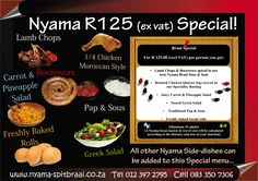 Nyama Spitbraai is a catering company. Nyama Spitbraai specializes in South African Flavoured Pig Roasts , Lambs on the Spit , Braai's and General Outside Catering. Carrot Pineapple Salad, Carrot Salad, Roasted Chicken Quarters, Outside Catering, Creamy Potato Salad, Moroccan Chicken, Pig Roast, Catering Companies, Lamb Chops