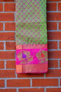 Green Kuppadam Saree with Pink Motifs all over